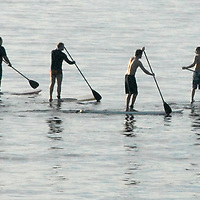 Standing boarders paddles at Santa Monica Bay on November 5, 2010.