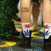 Washington, DC - AUG20: Attendees wear marijuana inspired clothing at the The B.U.D. Summit, the Business, Understanding, & Development Summit, August 20, 2016. The BUD Summit is poised to capture and accelerate the explosion of cannabis culture, business, and investment that has occurred in Washington, D.C. since the passing of initiative 71 in 2015. Photo by Evelyn Hockstein