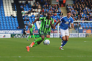 AFC Wimbledon striker Tom Elliott (9) gets ahead of Peterborough United defender Andrew Hughes (3) during the EFL Sky Bet League 1 match between Peterborough United and AFC Wimbledon at ABAX Stadium, London Road, Peterborough, England on 22 October 2016. Photo by Stuart Butcher.