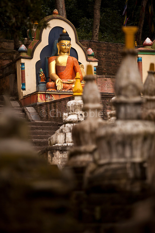 A statue of the Buddha greeting visitors at Swayambunath, one of the oldest and most holy religious sites in Kathmandu Nepal6.