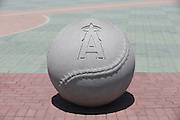 ANAHEIM, CA - JUNE 5:  A concrete baseball sports the team logo before the Los Angeles Angels of Anaheim game against the Chicago Cubs on Wednesday, June 5, 2013 at Angel Stadium in Anaheim, California. The Cubs won the game 8-6 in ten innings. (Photo by Paul Spinelli/MLB Photos via Getty Images)