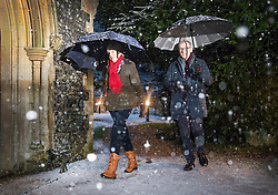 © Licensed to London News Pictures. 10/12/2017. Reading, UK. Prime Minister Theresa May and her husband Philip May attend church in heavy snow.  Photo credit: Peter Macdiarmid/LNP