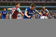 Everton defender Seamus Coleman (23) battles for possession during the Premier League match between Aston Villa and Everton at Villa Park, Birmingham, England on 23 August 2019.
