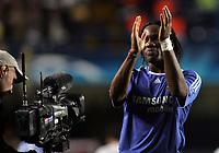 Photo: Paul Thomas.<br /> Chelsea v Valencia. UEFA Champions League. Quarter Final, 1st Leg. 04/04/2007.<br /> <br /> A not so happy goal scorer, Didier Drogba of Chelsea, thanks the fans.