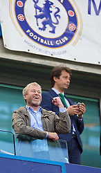 LONDON, ENGLAND - Sunday, May 3, 2015: Chelsea's owner Roman Abramovich celebrates winning the Premier League title after a 1-0 victory over Crystal Palace during the Premier League match at Stamford Bridge. (Pic by David Rawcliffe/Propaganda)
