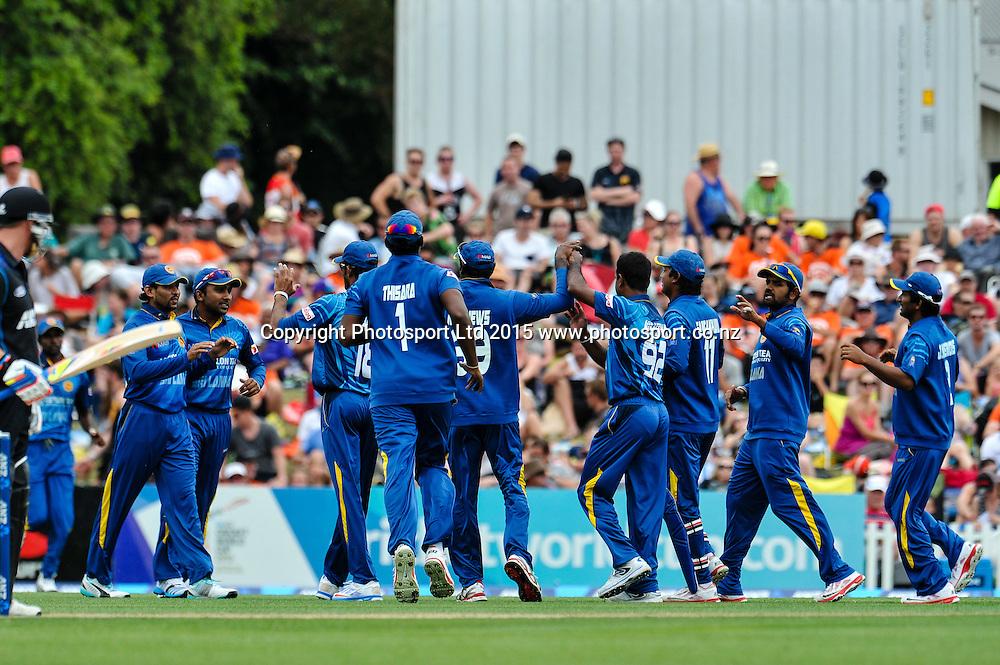 Sri Lanka celebrates Martin Guptill of the Black Caps wicket in the first ODI, Black Caps v Sri Lanka, at Hagley Oval, Christchurch, 11 January 2015. Photo:John Davidson/www.photosport.co.nz