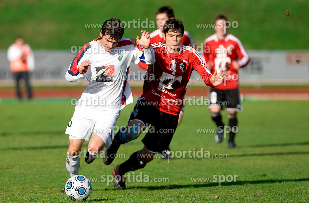 Alem Mujakovic of Rudar vs Matic Zitko of Interblock at football match of Round 17 of Slovenian first league between NK Interblock and NK Rudar Velenje,  on November 7, 2009, in ZAK, Ljubljana, Slovenia.  Interblock won 3:1. (Photo by Vid Ponikvar / Sportida)