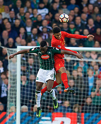 LIVERPOOL, ENGLAND - Saturday, January 7, 2017: Liverpool's Joe Gomez in action against Plymouth Argyle's Jordan Slew during the FA Cup 3rd Round match at Anfield. (Pic by David Rawcliffe/Propaganda)
