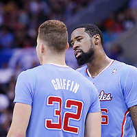 06 April 2014: Los Angeles Clippers forward Blake Griffin (32) and Los Angeles Clippers center DeAndre Jordan (6) are seen during the Los Angeles Clippers 120-97 victory over the Los Angeles Lakers at the Staples Center, Los Angeles, California, USA.