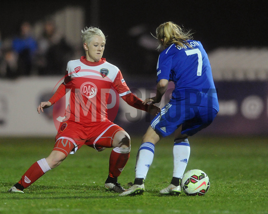 Bristol Academy Womens' Lauren Townsend closes down Gemma Davison of Chelsea Ladies - Photo mandatory by-line: Dougie Allward/JMP - Mobile: 07966 386802 - 02/04/2015 - SPORT - Football - Bristol - SGS Wise Campus - BAWFC v Chelsea Ladies - Womens Super League