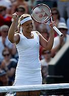 Wimbledon Championships 2012 AELTC,London,.ITF Grand Slam Tennis Tournament,.Sabine Lisicki (GER) jubelt am Netz nach ihrem Sieg,Jubel,Freude,Emotion, Einzelbild,Halbkoerper, Hochformat,.