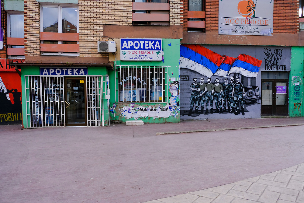 Sectarian graffiti adorns walls on the Serbian side (north side) of the Mitrovica bridge, over the river Ibar which separates the Serbian and Albanian districts of Mitrovica, Kosovo on the 12th of December 2018. Mitrovica or Kosovska Mitrovica is a city and municipality located in Kosovo. Settled on the banks of Ibar and Sitnica rivers, the city is the administrative centre of the Mitrovica District. (photo by Andrew Aitchison / In pictures via Getty Images)