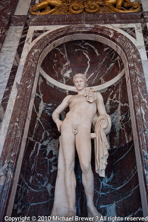 Palace of Versailles. Statue of a nude youth.