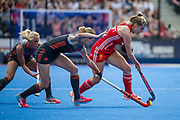 England's Sarah Haycroft is tackled by Carlien Dirkse van den Heuvel of the The Netherlands. England v The Netherlands, Lee Valley Hockey and Tennis Centre, London, England on 11 June 2017. Photo: Simon Parker