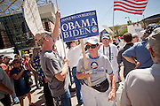 17 AUGUST 2009 -- PHOENIX, AZ: People who support health care reform walk through a crowd of health care reform opponents at the convention center. About 5,000 people were expected to demonstrate in favor of President Obama's health care proposals. Nearly 1,500 showed up to demonstrate against the President.  PHOTO BY JACK KURTZ