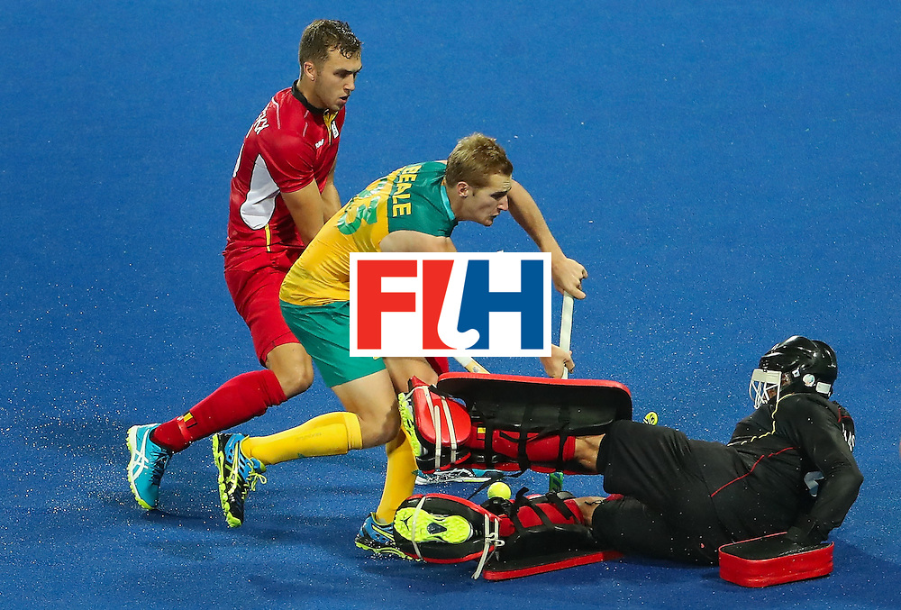 RIO DE JANEIRO, BRAZIL - AUGUST 09:  Daniel Beale #23 of Australia has his shot blocked by goalkeeper Vincent Vanasch #21 of Belgium during the hockey game on Day 4 of the Rio 2016 Olympic Games at the Olympic Hockey Centre on August 9, 2016 in Rio de Janeiro, Brazil.  (Photo by Christian Petersen/Getty Images)