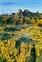Colorful eroded landscape along the Door Trail near Cedar Pass after a rain storm.  Badlands National Park, South Dakota.