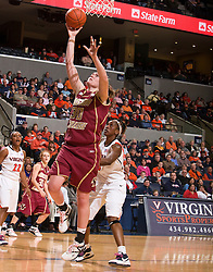 Boston Coll. center Carolyn Swords (30) shoots a layup against UVA.  The #21 ranked Virginia Cavaliers defeated the Boston College Eagles 90-70 at the John Paul Jones Arena in Charlottesville, VA on February 22, 2009.