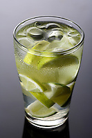 Close up of lemon drink with ice cubes