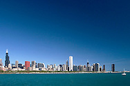 Chicago City Skyline and Lake Michigan View from Museum Campus, Chicago, Illinois