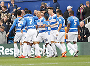 Queens Park Rangers forward Sebastian Polter celebrates with teammates during the Sky Bet Championship match between Queens Park Rangers and Wolverhampton Wanderers at the Loftus Road Stadium, London, England on 23 January 2016. Photo by Andy Walter.