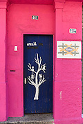 A colorful doorway in the trendy neighborhood of Santa Teresa in Rio de Janeiro, Brazil.