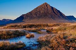 Buachaille Etive M&ograve;r just after dawn on a cold autumn morning.  Rannoch Moor, Highlands of Scotland.<br /> <br /> (c) Andrew Wilson | Edinburgh Elite media