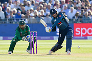 Jason Roy of England goes on the attack during the third Royal London One Day International match between England and Pakistan at the Bristol County Ground, Bristol, United Kingdom on 14 May 2019.