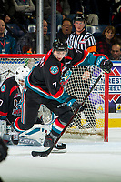 KELOWNA, CANADA - OCTOBER 3:  Libor Zabransky #7 of the Kelowna Rockets skates with the puck against the Vancouver Giants on October 3, 2018 at Prospera Place in Kelowna, British Columbia, Canada.  (Photo by Marissa Baecker/Shoot the Breeze)  *** Local Caption ***