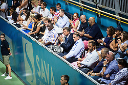 Borut Pahor, president of Slovenia and Marko Umberger, president of Tenis Slovenia during Final match at Day 9 of ATP Challenger Zavarovalnica Sava Slovenia Open 2018, on August 11, 2018 in Sports centre, Portoroz/Portorose, Slovenia. Photo by Vid Ponikvar / Sportida