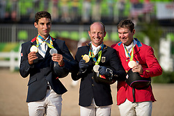 Individual Podium, Nicolas Astier, FRA, Jung Michael, GER, Dutton Phillipe, USA<br /> Olympic Games Rio 2016<br /> © Hippo Foto - Dirk Caremans<br /> 09/08/16