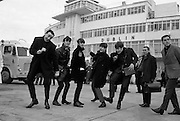 The Beatles arrive in Ireland to play their only gig in the country in the Adelphi Cinema on 7 November 1963. Alongside the Fab Four is radio & TV personality Paul Russell  (left), with Frank Hall appearing on the right of the picture.   .07.11.1963