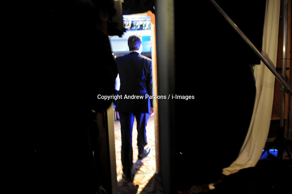 Leader of the Conservative Party David Cameron walks on stage to deliver his speech to the Conservative Party Spring Forum, Sunday February 28,  2010.. Photo By Andrew Prsons / i-Images.