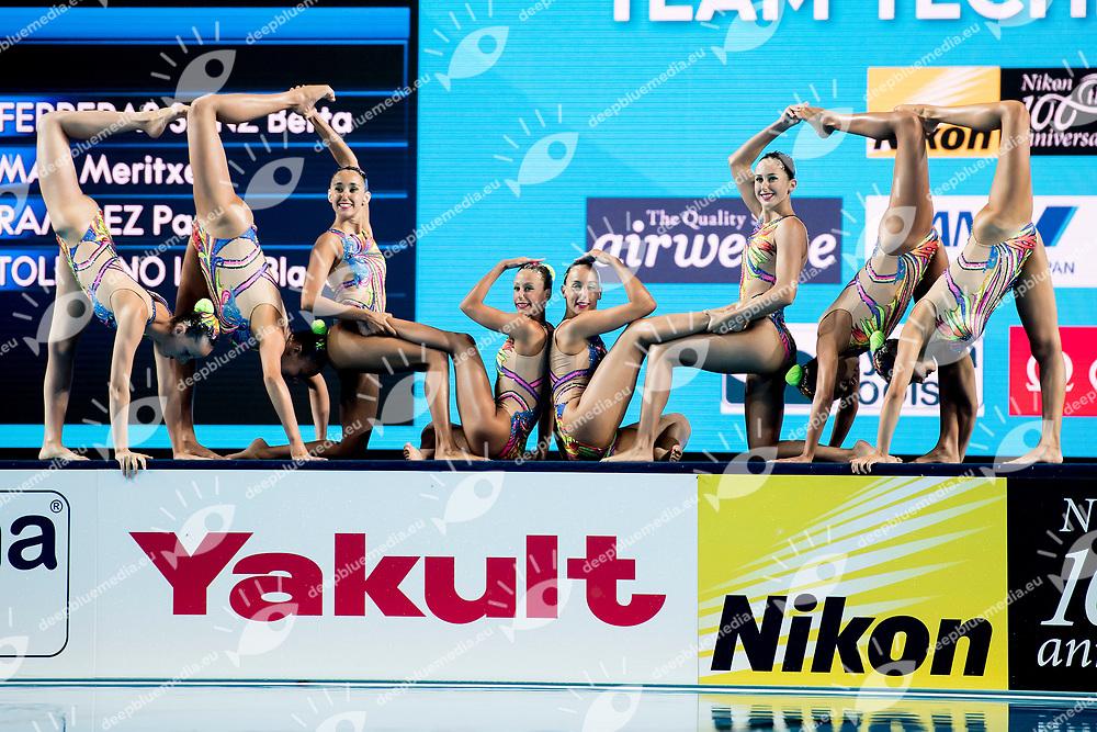 Team Spain ESP<br /> Synchronised swimming, Synchro<br /> Women's Team Technical Preliminary Technical Routine<br /> Day 03 16/07/2017 <br /> XVII FINA World Championships Aquatics<br /> City Park - Varosliget Lake<br /> Budapest Hungary July 14th - 30th 2017 <br /> Photo @ A.Masini/Deepbluemedia/Insidefoto