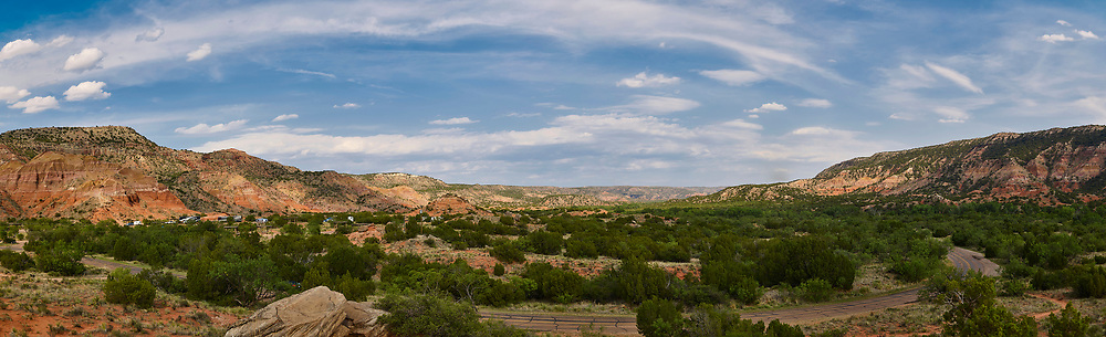 Panoramic photograph of south end of Palo Duro Canyon