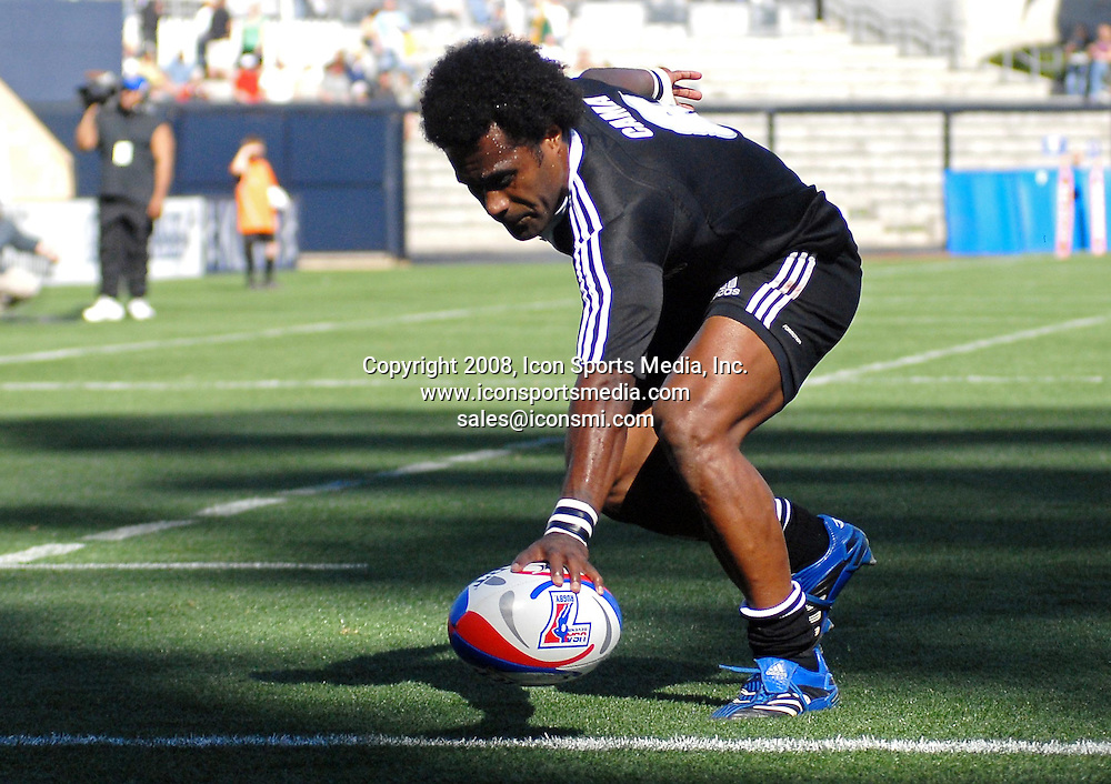 09 February 2008: New Zealand's Tomasi Cama scores a try in a game against Scotland during the IRB Sevens World Series played at Petco Park in San Diego, CA.