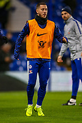 Chelsea midfielder Eden Hazard (10) warms up before the EFL Cup semi final second leg match between Chelsea and Tottenham Hotspur at Stamford Bridge, London, England on 24 January 2019.