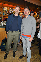 Left to right, PATRICK GRANT and STEVE ASPINALL at a quiz night hosted by Zoe Jordan to celebrate the launch of her men's ZJKNITLAB collection held at The Larrick Pub, 32 Crawford Place, London on 20th April 2016.