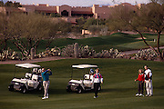 Foursome golfing on fairway, Canyon hole#1, Westin La Paloma. ©1993 Edward McCain. All rights reserved. McCain Photography, McCain Creative.