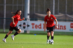 NEWPORT, WALES - Tuesday, November 6, 2018: Wales' Natasha Harding and Angharad James during a training session at Dragon Park ahead of two games against Portugal. (Pic by Paul Greenwood/Propaganda)