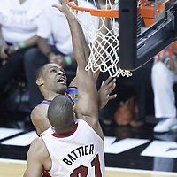 21 June 2012: Oklahoma City Thunder point guard Russell Westbrook (0) goes for the layup past Miami Heat small forward Shane Battier (31) during the Miami Heat 121-106 victory over the Oklahoma City Thunder, in Game 5 of the 2012 NBA Finals, at the AmericanAirlinesArena, Miami, Florida, USA. The Miami Heat wins the series 4-1.