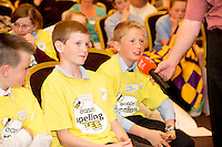 Ethan Roche , Newtown National School, Abbeyknockmoy, James Clancy Ardvarney National School Dromahair Co Leitrim .and James Devaney St Patrick's National  Calry, Sligo,. at the Eason Spelling Bee in the Hotel Meyrick, Galway from where Ryan Tubridy's  show was broadcast . Photo:Andrew Downes..