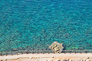 The blue water of the Mediterranean Sea. Photographed at Rosh Hanikra, Achziv Beach, Israel