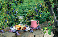 Plum and apple strudel, wine glass and jug on country wall, plums
