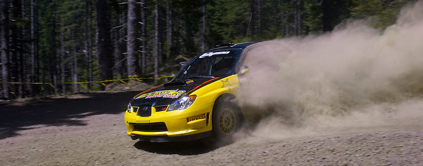 Tanner Foust executes a beautiful turn during the 2009 Oregon Trail Rally from the Rally America series just a few miles before the fateful roll would end his day.