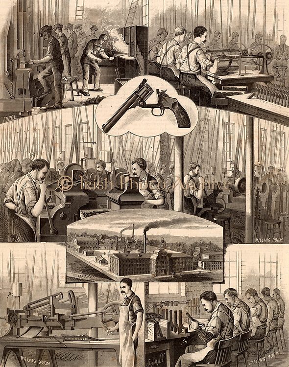 Smith & Wesson's revolver factory, Springfield, Illinois, showing the processes of production from the forging of the barrels, and  the stocking and milling rooms fitted with power by means of belt and shafting, the rifling room and the fitting room.  Engraving from 'Scientific American' (New York, 24 January 1880).
