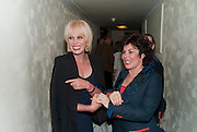JOANNA LUMLEY; RUBY WAX, Press night for Ruby Wax- Losing it. Duchess theatre. London. 1 September 2011. <br /> <br />  , -DO NOT ARCHIVE-© Copyright Photograph by Dafydd Jones. 248 Clapham Rd. London SW9 0PZ. Tel 0207 820 0771. www.dafjones.com.