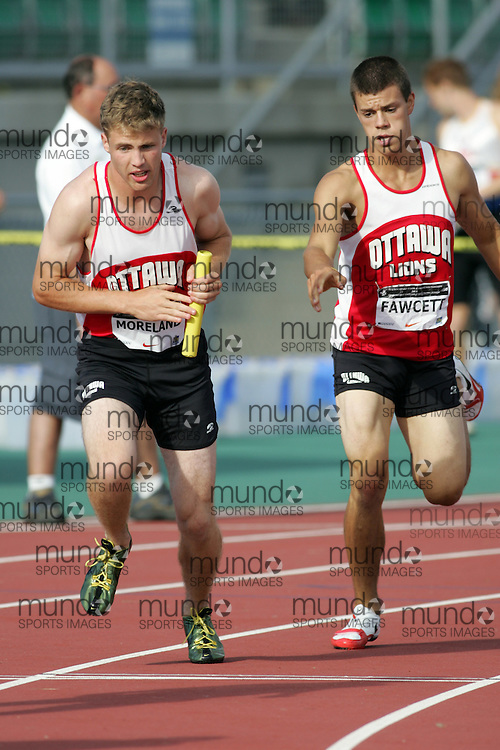 (Sherbrooke, Canada---23 July 2006) Tyler Fawcett to Moreland in the 4x400m relay at  the 2006 Canadian Junior Track and Field Championships and national multi-events championships 21-23 July 2006 held in Sherbrooke Quebec. Copyright 2006 Sean Burges / Mundo Sport Images, www.mundosportimages.com