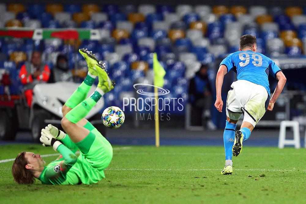Arkadiusz Milik of Napoli scores 2-0 goal during the UEFA Champions League, Group E football match between SSC Napoli and KRC Genk on December 10, 2019 at Stadio San Paolo in Naples, Italy - Photo Federico Proietti / ProSportsImages / DPPI