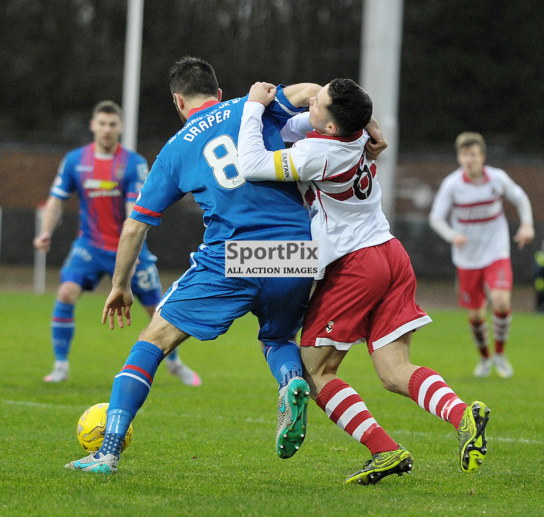 Ross Draper  (ICT, Blue &amp; Red) and Willie Robertson (Stirling Albion, red &amp; white)<br /> <br /> Stirling Albion v Inverness Caledonian Thistle, Scottish Cup, Saturday 9th January 2016<br /> <br /> (c) Alex Todd | SportPix.org.uk